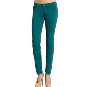 7 For All Mankind Green Skinny Jeans
